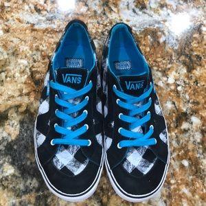 Checkered vans US 6 blue laces
